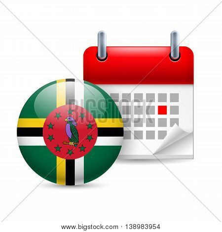 Calendar and round Dominican flag icon. National holiday in Dominica