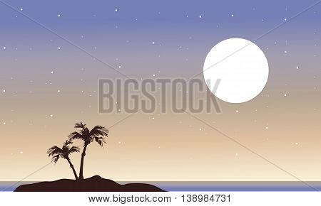 At night islands landscape of silhouette vector art