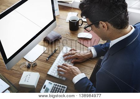 Businessman Working Using Computer Busy Concept