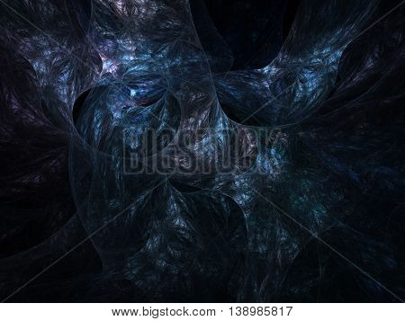Dark abstract fractal background deep blue waves