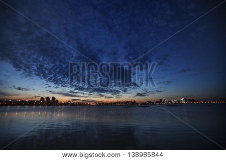 Night view on Volga River in Kazan city. Tatarstan
