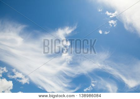 Blue sky background with clouds aerial view cloudscape