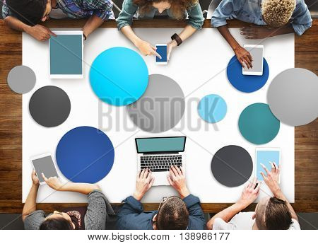 Diverse People Hands Team Busy Devices Concept