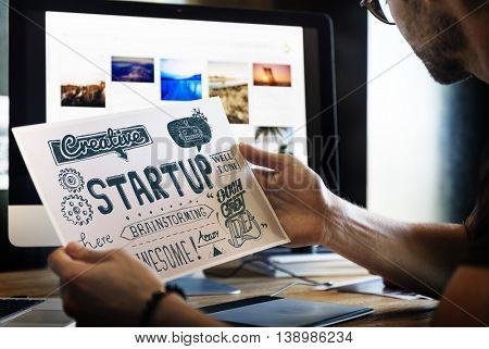 Start Launch Ideas Graphic Concept