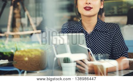 Woman Drinking Beverage Digital Tablet Technology Concept