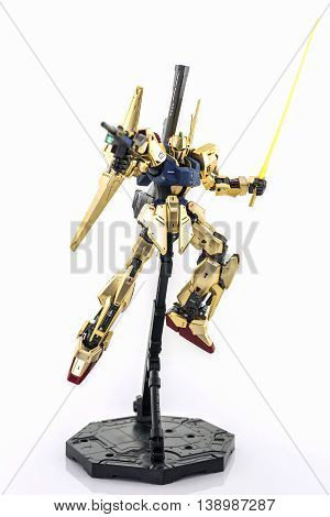 Bangkok Thailand - July 17 2016: Gundam model scale 1:100 produced by Bandai Japan. Gundam plastic model from anime tv series mobile suit gundam.