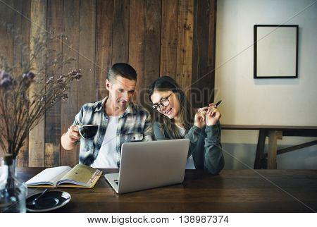 Coffee Break Working Laptop Couple Concept