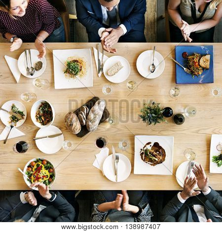 Business People Cafe Celebrate Friend Dining Concept