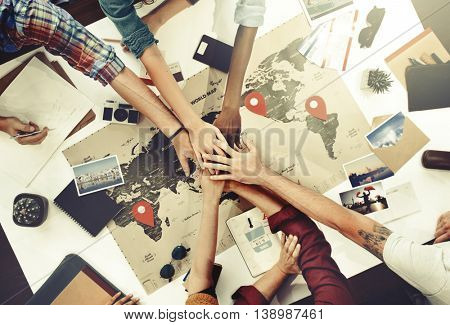 Teamwork Support Travel Journey Planning Concept