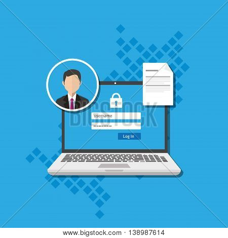 access management authorize software authentication login form system vector illustration