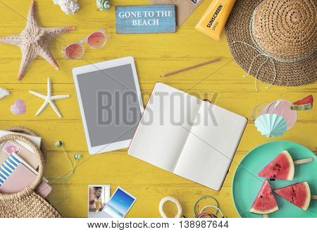 Mockup Copyspace Book Summer Vacation Concept