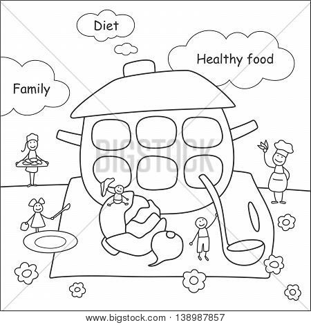 Family stories: diet and healthy food. Linear black and white.