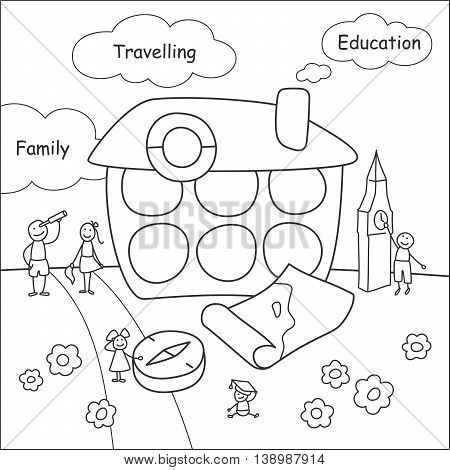 Family stories: travelling and education. Linear black and white.