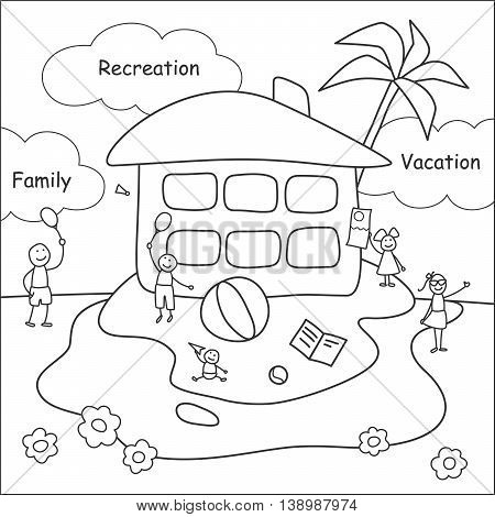 Family stories: recreation and vacation. Linear black and white.