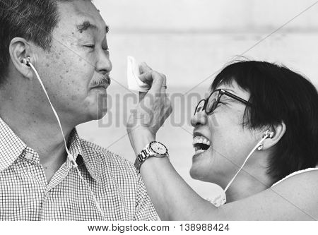 Elderly Senior Couple Playful Concept