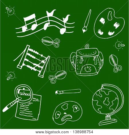 School vector doodles collection stock on green backgrounds