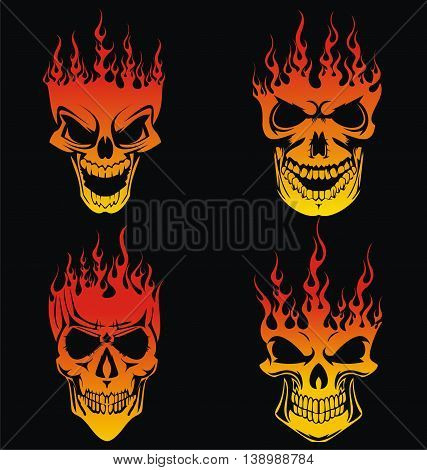 4 Burning Skulls Vector in Flame Style