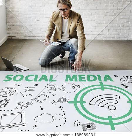 Social Media Word Wifi Signal Concept