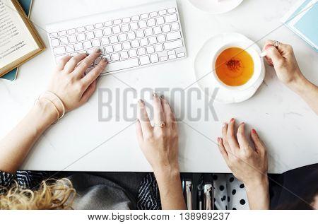 Women Friends Talking Using Computer Concept