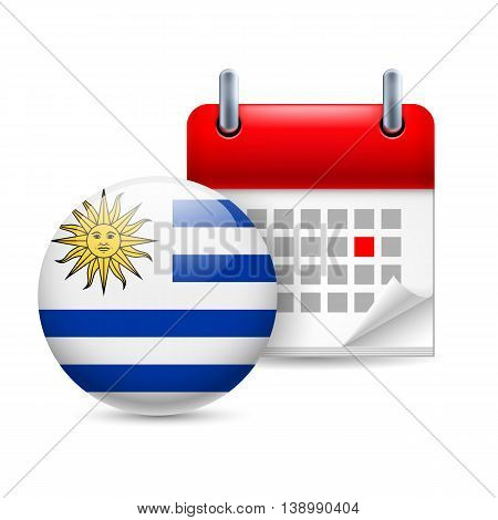 Calendar and round Uruguayan flag icon. National holiday in Uruguay