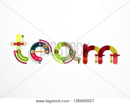 Team word lettering banner. Geometric thin line minimal design