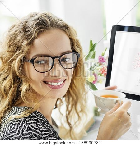 Woman Drinking Tea Break Relaxation Happiness Concept