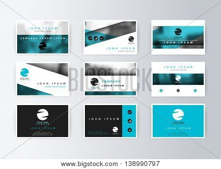 Set of business cards, blue background. Template information card. Concept corporate layout paper. Modern set card business