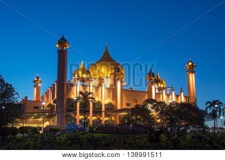 Kuching City Mosque (Masjid Bahagian) at night, Sarawak, Malaysia.