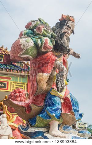 REPULSE BAY HONG KONG - MAY 23: The colorful statue at Kwun Yam temple on May 23 2016 in Repulse Bay Hong Kong.