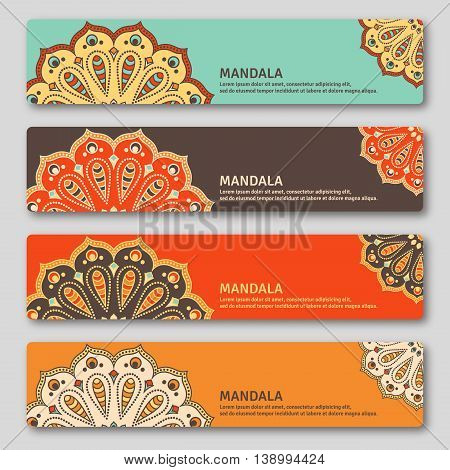 Set of gorizontal cards with hand drawn mandala. Oriental style vintage decorative elements. Indian asian arabic islamic ottoman motif. Vector illustration.
