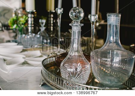 luxury glasswares on the table in dinning room