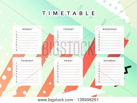 Planner calendar. Schedule the week, abstract design background. Template info organizer. Blank schedule school. Layout sheet planning poster