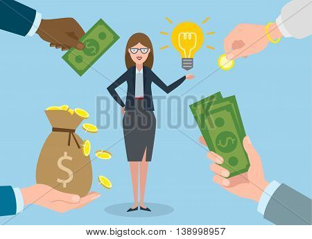 Businesswoman gets money for the idea. Beautiful businesswoman has idea bulb. Selling new ideas, getting money bag.