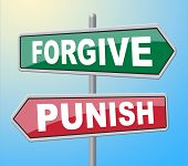 Forgive Punish Signs Representing Let Off And Crime poster