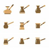 assembly of flat icons coffee arabic Turk poster