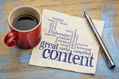 great content writing word cloud on a napkin with a cup of coffee, business writing and content marketing concept poster