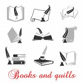 Manuscript and books with quill and ink. Education or knowledge black set of icons. Calligraphy of handwritten or typewritten history scrolls poster