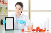 use digital tablet to find the information of gmo food is very easy poster