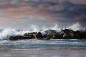 Stormy ocean waves beautiful seascape big powerful tide in action storm weather in a deep blue sea forces of nature natural disaster.ocean wave in the Pacific ocean poster