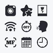 Hipster retro photo camera icon. Manual focus symbols. Stopwatch timer off sign. Macro symbol. Wifi internet, favorite stars, calendar and clock. Talking head. Vector poster