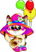 Cheerful pale-yellow kitten in a red hat in boots with multi-coloured balloons. Congratulates on a holiday. poster