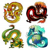 Set of four Asian east dragons of different flowers and elements on the Chinese horoscope. Cunning yellow earth monster. Furious red fiery pangolin. Evil green wood dragon. Blue water spirit. poster