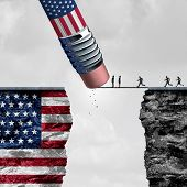United States border isolationism and protectionism or American immigration refugee crisis as people running to cross a bridge that is being erased by a pencil with a US flag on a cliff as a social issue on refugees or illegal immigrants with 3D illustrat poster