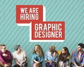 We are Hiring Job Application Creative Occupation Designer Concept poster