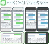 Smartphone chatting sms template bubbles. Place your own text to the message clouds. Compose dialogues using samples bubbles! Horizontal and vertical phone positions. Flat design vector illustration poster