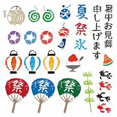 Japanese summer elements lantern goldfish paper fan wind chime and mosquito coil poster