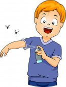 Illustration of a Little Boy Spraying Insect Repellent on Himself poster