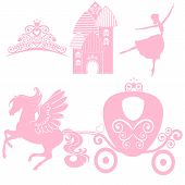 Cinderella set of collections. Crown, Vector illustration. design elements for little Princess, glamour girl. cards for birthday, wedding invitation. the carriage, the Palace, Pegasus, dancing poster