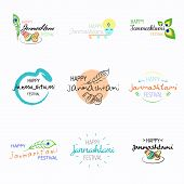 Set of Happy Janmashtami festival typographic vector design with text, pots, Lord Krishna, flute and peacock feather. Usable for banners, greeting cards, t-shirts, print. poster