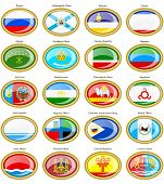 Set of icons. Federal subjects of the Russian Federation flags. poster